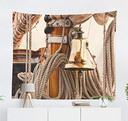 Deronge Sailboat Tapestry Shiny Brass Ship Bell Vintage Sailboat Nautical Sea Tapestry Wall Hanging Decor 50x60 Inch Wall Art Tapestry for Men Bedroom Decorative Tapestry Dorm DecorShiny Brass Ship