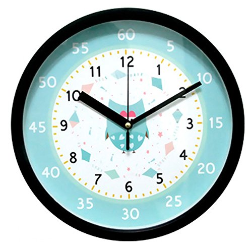 Easy Read Time Teacher Children's Wall Clock Non-Ticking Silent Movement Learn to tell the time Owl