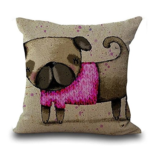 Famulei Cute Dog Cartoon Hand Painted Square Childrens Throw Pillow Cover Animal Print Decorative Home Decor Cotton Linen Window Seat Cushion Cover For Living Room Sofa Chair Etc 18x18