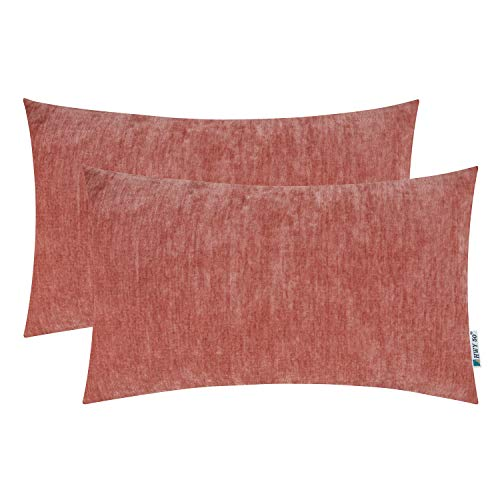 HWY 50 Cashmere Soft Decorative Rectangle Throw Pillows Covers Set Cushion Cases for Couch Bed Living Room 12 x 20 Inches Rose Powder Comfortable Pack of 2