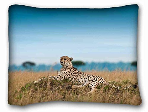 Soft Pillow Case Cover  Cats Animal Cheetah  Pillowcase Cushion Cover Design Standard Size 20x26 inches One Sides suitable for King-bed
