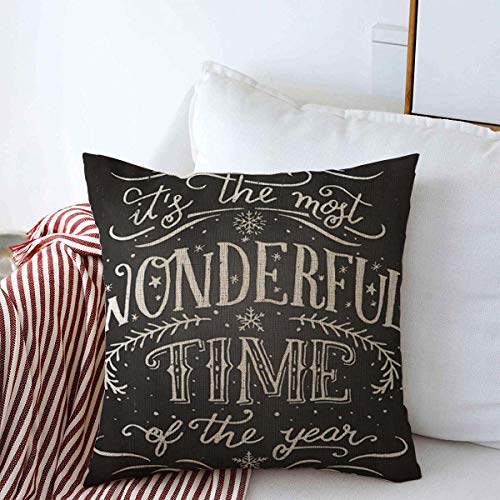 Staropor Pillow Case Chalk Chalkboard Most Wonderful Time Year Christmas New Graphic Holidays Vintage Xmas Winter Merry Farmhouse Decorative Throw Pillows Covers 20x20 for Winter Decorations