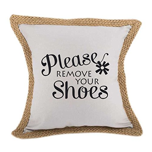 Please Remove Your Shoes Sofa Bed Home Decor Canvas Jute Pillow Cover Gray