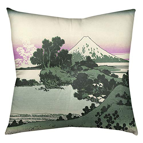 ArtVerse Katsushika Hokusai Shichiri Beach in Sagami Province in Green and Pink Floor Pillow - Square Tufted 30 x 30 Green Pink