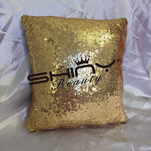 ShinyBeauty Toss Pillow CoversShiny Gold Sequin Pillow CoverSequin Lumbar PillowSequin Pillow Case-22x22-Inch