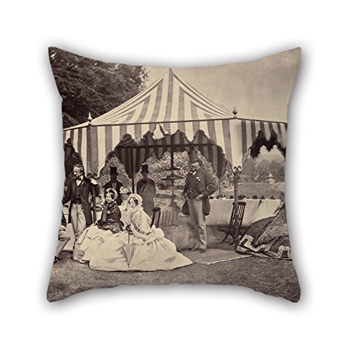 Elegancebeauty Oil Painting Camille Silvy French - Group Of Well-Dressed People In Front Of An Outdoor Tent Cushion Covers 18 X 18 Inches  45 By 45 Cm Gift Or Decor For Fatherfestivalcouples