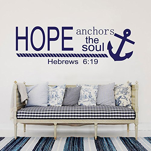 Wall Decal Decor Hope Anchors The Soul Wall Decal Quotes - Hebrews 619 Vinyl Wall Sticker Bible Scripture Wall Decal Anchor Nautical Wedding Gift Dorm Decornavy blue 145h x46w