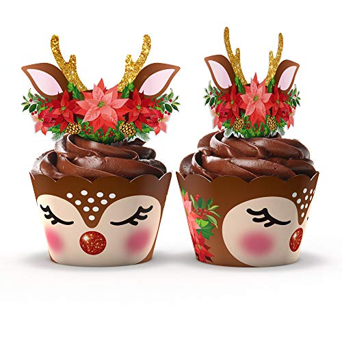 Christmas Reindeer Rudolph Cupcake Wrappers and Toppers by Funky Fledgling- 24 Set - Christmas party decorations Christmas Deer