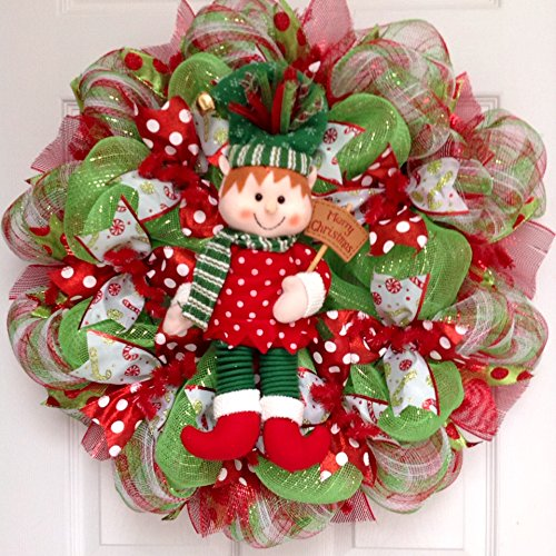 New Jingle Bell Christmas Elf Holiday Wreath Handmade Deco Mesh
