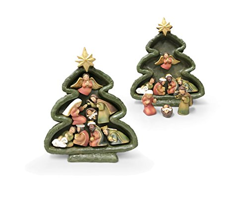San Francis Imports Standing Christmas Tree Statue with Magnet Nativity Set Figurines 6 Inch