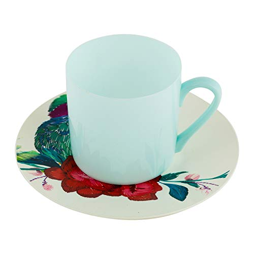 Cups Saucers Set - 85oz Blue CoffeeTea Mug 6 Blue Bird Plate - Elegant Disposable Plastic Dinnerware Party Supplies - Real China Look Event Decoration Hard Reusable Pack of 6 Sets 12pc