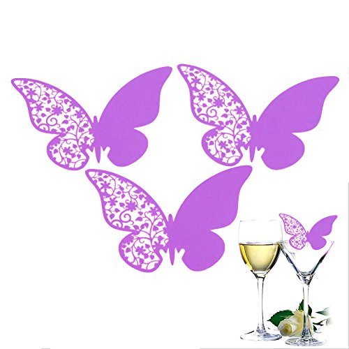 SHZONS™50PCsPack Purple Butterfly Wedding Table Paper Place Card Escort Name Card Wine Glass Card for Wedding Party Decoration