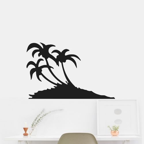 Sand Dune Palm Trees Wall Art Home Decor Sticker Decal Brown Matte-Removable 42 Max Length