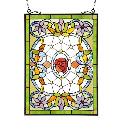 ELUZE Stained Glass Panel 24 inch Tall 18 inch Wide Chain Decorative Tiffany Style Window Hanging