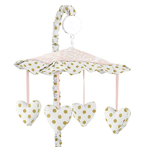Girls Musical Baby Crib Mobile for Pink White Damask and Gold Polka Dot Amelia Collection
