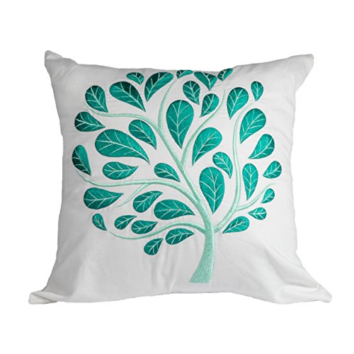 Teal Pillow Cover Throw Pillow Cover  White Linen Teal Peacock Embroidered Cushion Cover Accent Pillow 20 inch x 20 inch