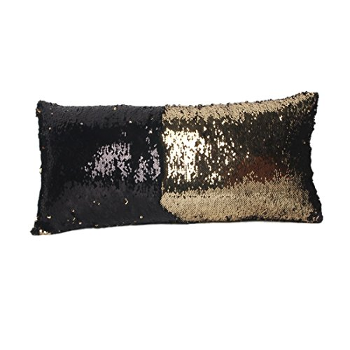 ESport Satin Fabric Magic Reversible Sequins 24 x 12 Inches Throw Pillow Cover Fashion Oblong Mermaid Pillow Cases black and gold