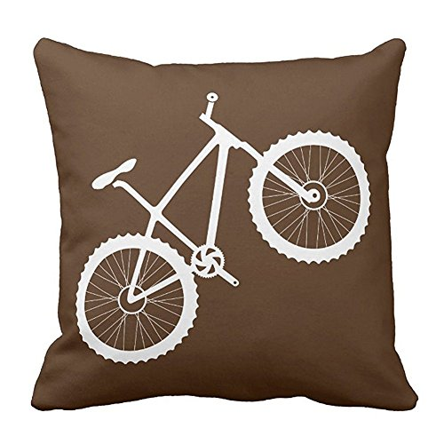 1PCS Fashion Custom Design Pillowcase Decorative Square White Bike in Chocolate Brown Cushion Cover Pillowcase Protector Zipper With Design Two Sides 16 x 16 Inches