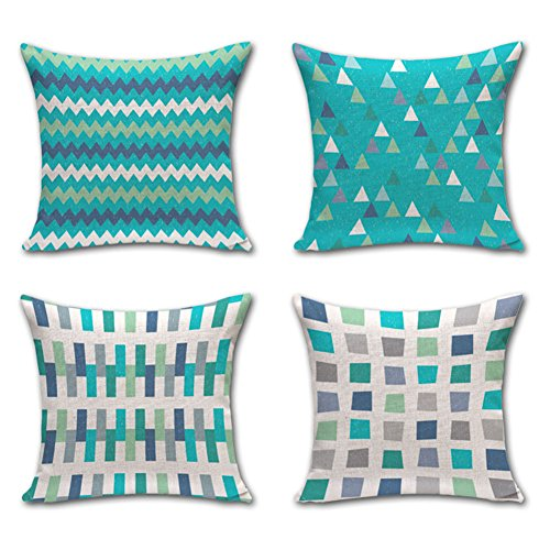 Ahey Cotton Linen Home Decor Throw Pillow Case Turquoise Cushion Cover Set of 4 Geometric Chevron Stripe Pattern 18X18 Inch
