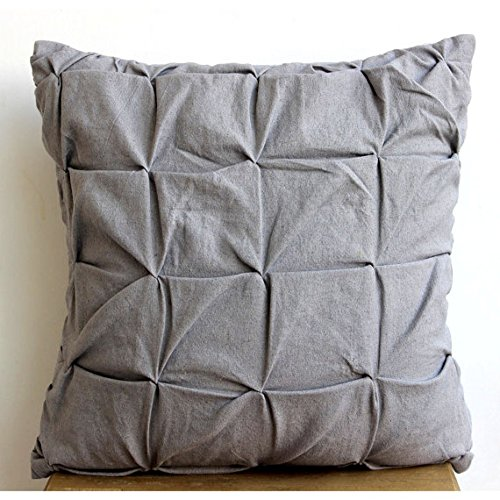 22x22 Pillow Cover Grey Accent Pillows Textured Knotted Pintucks Solid Color Pillows Cover Cotton Linen Square Decorative Pillows Cover Solid Contemporary Pillows Cover - Grey Linen Texture