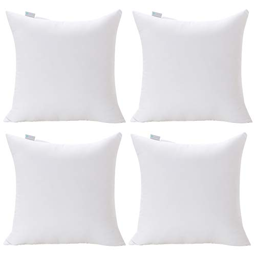 Acanva Decorative Square Throw Pillow Inserts Hypoallergenic Form Stuffer Cushion Sham Filler 20 L x 20 W White Set of 4