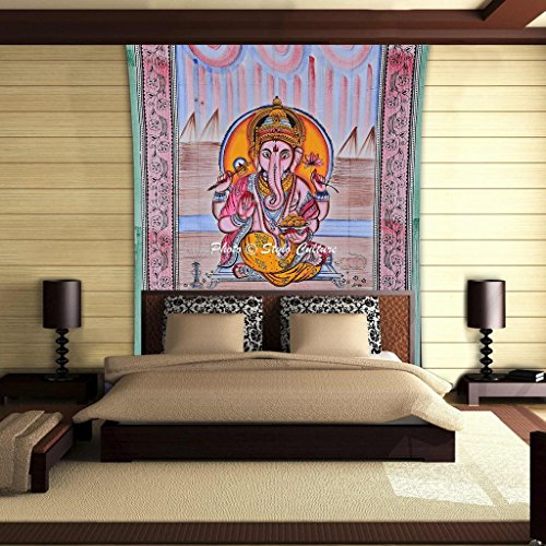 Stylo Culture Mandala Tapestry Cotton Multi Color Twin Printed Lord Ganesha Religious Wall Hanging Throw Beach Rug Picnic Rug Wall Decoration Room Divider