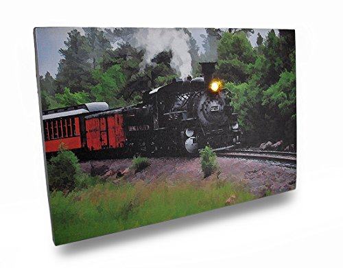 Canvas Prints 72075 Flickering Led Steam Engine Train Scene Canvas Wall Hanging 18 X 12 X 1 Inches Multicolored