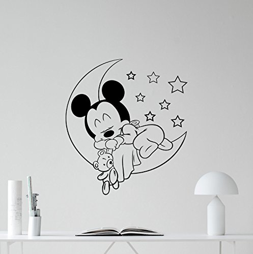 Mickey Mouse Baby Sleeping Vinyl Wall Decal Moon Toy Girl Kids Walt Disney Cartoons Gym Vinyl Sticker Baby Girl Boy Custom Kids Room Wall Art Bedroom Nursery Wall Decor Mural 96bar