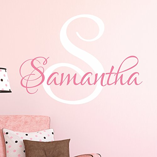 Nursery Custom Name Wall Decal Sticker 16 W by 14 H Girl Name Wall Decal Girls Name Wall Decor Personalized Girls Name Decor Girls Nursery Girls Bedroom PLUS FREE WHITE HELLO DOOR DECAL