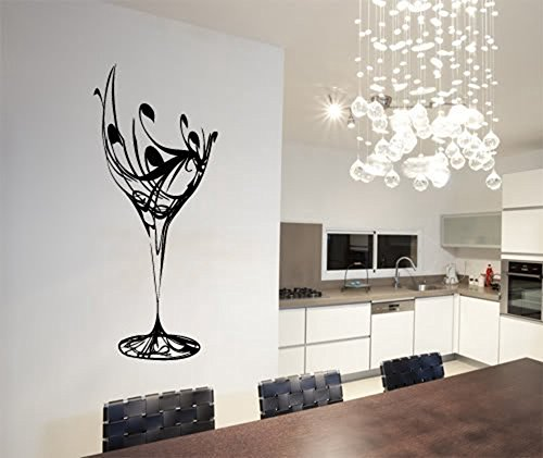 ColorfulHall 236 X 402 Black Abstract Elegant Wine Glass Wall Decal Kitchen Wall Sticker Removable Vinyl Kitchen Decoration