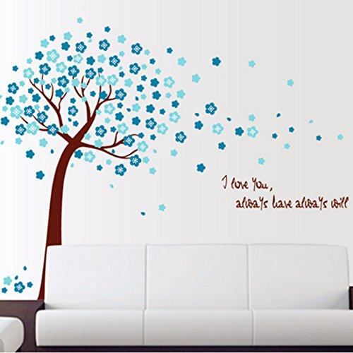 Beautiful Blue Peach Blossom Tree Wall Decal Home Sticker Paper Removable Living Room Bedroom Art Picture DIY Mural Girls Boys Kids Nursery Baby  Gift Colorful Butterflies