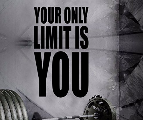 Gym Wall Decal - Fitness Motivation Wall Decal For Home Gym - Inspirational Exercise Wall Sticker - Your Only Limit Is You 27h x 16w