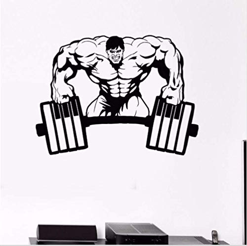 ttnan Gym Wall Sticker Vinyl Muscle Gym Bodybuilding Wall Decal Muscled Man Wall Mural Sport Room Decor Weight Lifting Wallpaper 57 42Cm