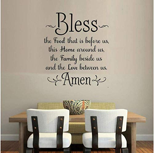 Bless The Food Before Us Amen Kitchen Dining Room Wall Sticker Family Amen God Quote Wall Decal Home Decor Vinyl Decal 53X63Cm