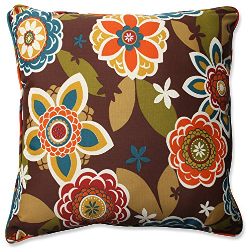 Pillow Perfect OutdoorIndoor AnnieWestport Chocolate Floor Pillow 25 Floral Multicolored
