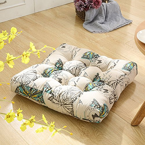 TMJJ Cotton Linen Floor Pillow Square Japanese Futon Seat Cushion Thicken Chair Bay Window Pad 21 x 21Butterfly Love