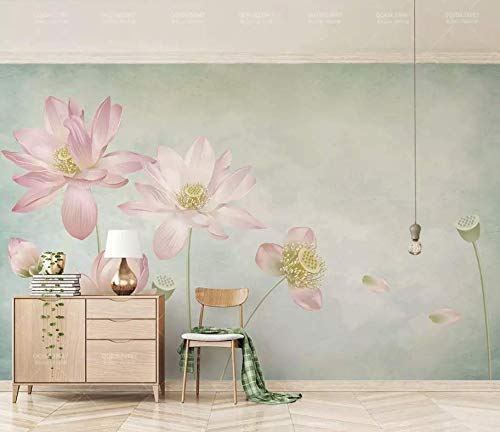 Murwall Floral Wallpaper Lotus Wall Mural Flower Wall Art Vintage Chinese Home Decor Living Room Bedroom Cafe Design
