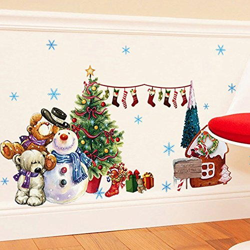 ANBER Merry Christmas Wall Sticker Santa Snowman Removable Vinyl Wall Decals Window Xmas Self-Adhesive Holiday Home Decoration