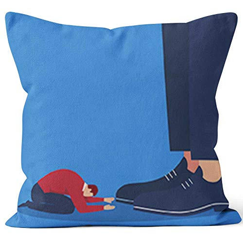 Nine City Businessman Bowing at The Foot of The Giant Throw Pillow Cushion CoverHD Printing Decorative Square Accent Pillow Case18 W by 18 L