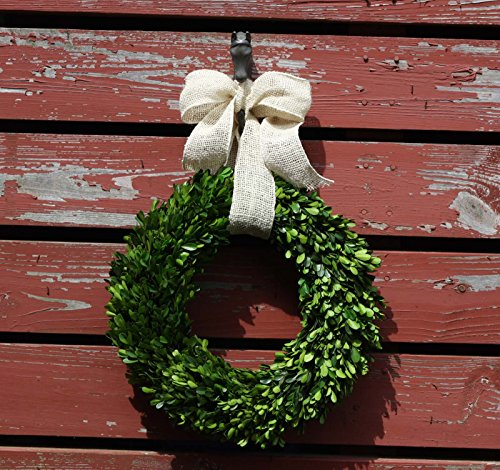 Preserved Garden Boxwood Wreath with Removable Burlap Bow-14