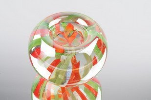 M Design Art Handcraft Rainbow Orange Red Candle Holder Glass Paperweight Kitchen