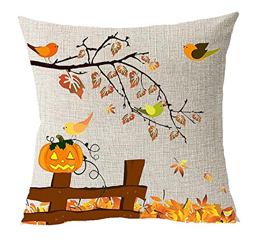 Thanksgiving Gift Maple Leaf Pumpkin Turkey Celebrate Harvest Animal Birds Cotton Linen Square Throw Waist Pillow Case Decorative Cushion Cover Pillowcase Sofa 18x 18 18X18 Inches 4