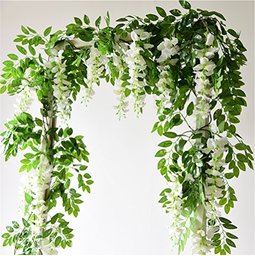 Felice Arts 4 Pcs Artificial Flowers 66ftpiece Silk Wisteria Ivy Vine Green Leaf Hanging Vine Garland for Wedding Party Home Garden Wall Decoration Cream