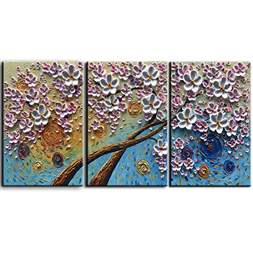 YaSheng Art -3 Piece Artwork Oil painting On Canvas Texture 3D Flowers paintings Modern Home Interior Decor Canvas Wall Art 100 Hand painted Abstract Art paintings Stretched Ready to Hang 28x20inchx3