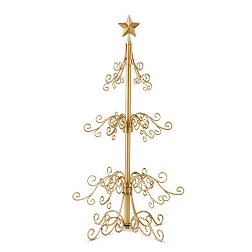 36 inch Metal Scroll Christmas Ornament Display Trees in Black Gold Colors Gold