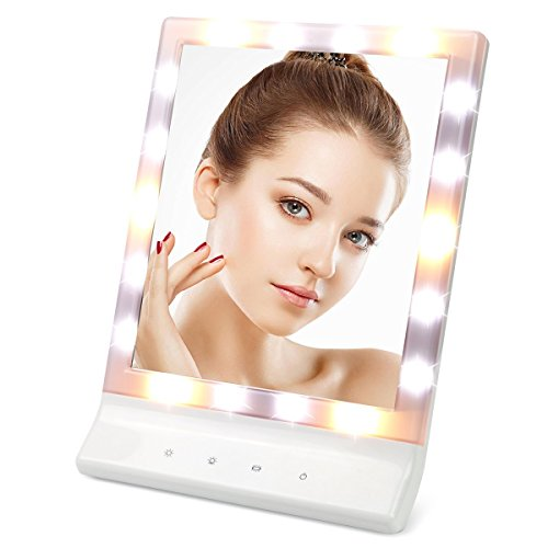 LED Lighted Makeup Mirror with Removable 10x Magnifying - ASSIS Vanity Mirror Led Cosmetic Mirror Smart Touch Makeup Mirror with Light 18 LED  Wall Mount Make Up Mirror