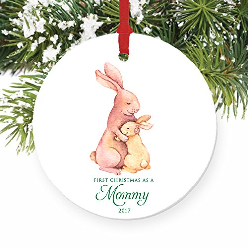 Mommy Ornament 2017 New Mother 1st Christmas as a Mommy Bunny Rabbit Porcelain Ornament 3 Flat Circle Christmas Ornament with Glossy Glaze Red Ribbon Free Gift Box  OR00070 Mancini