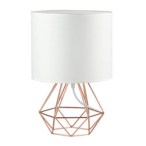 Modern Vintage Rose Gold Desk Table Lamps for Girls Kids Living Room Bedroom - Minimalist Industrial Style DIY Bedside Night Light Metal Hollowed Out Base Fabric Shade - Ecopower Geometric Cage Light