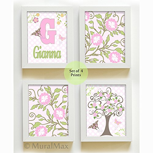 MuralMax - Personalized Flowers Butterfly Nursery Collection - Set of 4 - Unframed Prints - Size 11 x 14