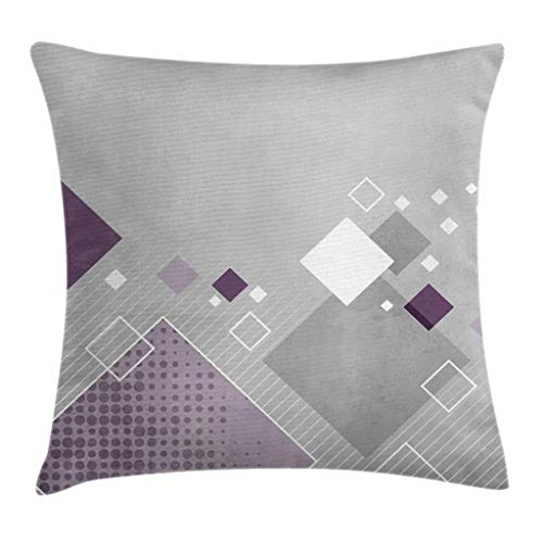 Ambesonne Abstract Throw Pillow Cushion Cover Geometric Composition with Different Colored Squares Striped Dotted Rhombus Decorative Square Accent Pillow Case 16 X 16 Grey Purple